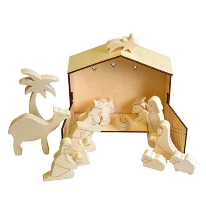 Ξύλινη φάτνη Χριστουγέννων 17x15x6cm